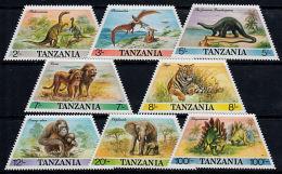 B0672 TANZANIA 1988, SG 550-7 Prehistoric And Modern Animals,  MNH