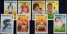 F0127 TANZANIA 1989, SG 651-8 International Sporting Personalities,  MNH