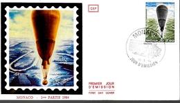 MONACO     FDC  1984 Ballon Stratospherique Auguste Picard Physique