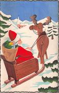 ¤¤  -  Père-Noël Au Pochoir  -  Renne , Jouets , Neige , Traineau   -  ¤¤ - Noël