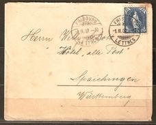 """Zu 73E Obl. FRIBOURG 1.2.1902 Dest. Hôtel """"Alten Post"""" SPAICHINGEN Allemagne Voir  2 Scans + Description"""