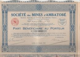 "PART BENEFICIAIRE ""SOCIETE DES MINES D'AMBATOBE ""  ANNEE 1929 - Mines"
