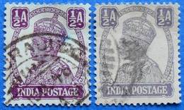 INDIA  2 X 1/2 A 1942 KING GEORGE VI (DIFFERENT COLORS) - USED