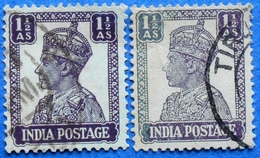INDIA 2 X 1 1/2 As 1942 KING GEORGE VI (DIFFERENT COLORS) - USED