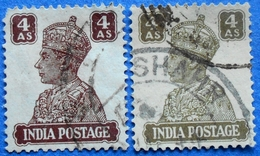 INDIA 2 X 4 As 1940 KING GEORGE VI (DIFFERENT COLORS) - USED