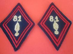 Le 81e Régiment D'infanterie De Ligne =>2 PATCH Tissu De BRAS Brodé Rouge & Or Fond Noir-Militaria>Équipement