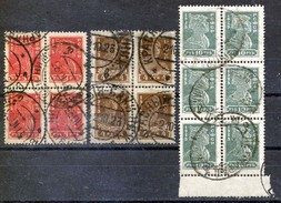 Russia , SG 320 (4) , 321 (4) , 323 (6)  , 1923, Definitives , Used In Blocks - Used Stamps