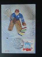 Carte Maximum Card Hockey Sur Glace Ice Hockey J.O Calgary 1988 Signée Du Hockeyeur Patrick Foliot St-Pierre Et Miquelon