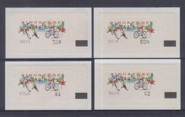 Singapore 2000 Frama Labels,Healthy Living Design, Cycling 4v MNH