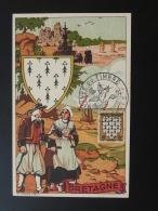 Carte Maximum Card Armoiries Blason Coat Of Arm Heraldry Costume Bretagne Rennes Journée Du Timbre 1943 - 1940-49