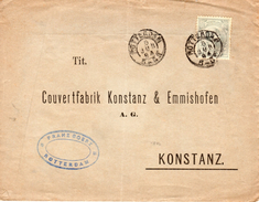 1894 NVPH 38 Op Brief Van Rotterdam Naar Konstanz - Periode 1891-1948 (Wilhelmina)