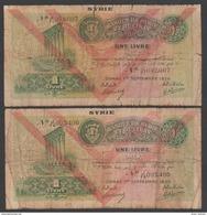 Syria,Syrie, Lebanon,1 Pounds 1939,Two Same Type D, No:40, VG. - Siria