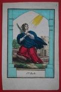 Image Pieuse - Début XIXème - Sainte Barbe - Rehaussée Aux Coloris