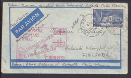 """FR - 1939 - """" Service Postal Aérien Sans Surtaxe """" Timbre 430 Affr. à 2.25 F Sur Enveloppe De Paris Vers Helsinki - B/TB"""