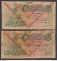Syria,Syrie, Lebanon,1 Pounds 1939,Two Same Type D, No:40, VG. - Syrië