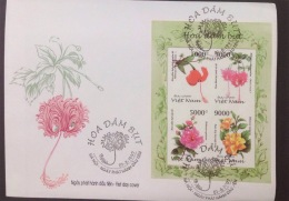 FDC Vietnam Viet Nam Cover 1997 With Imperf Sheetlet Of Flower (Ms761)