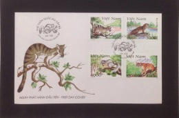FDC Vietnam Viet Nam Cover 1997 : Animals In Cat Ba National Park / Civet / Otter / Squirrel / Wild Cat (Ms753)