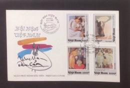 FDC Vietnam Viet Nam With Perf Stamps 1995 : Vietnamese Art Paintings / Flower / Costume / Lotus (Ms720)
