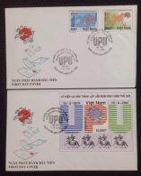 FDC Vietnam Viet Nam Covers With Perf Stamps & SS 1994 : 120th Anniversary Of UPU / Universial Postal Union / Horse
