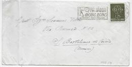 "ANNULLO A TARGHETTA - ""PASSAGGIO HONG.KONG..."" 1959 CAT ORNAGHI 1237.59 SU BUSTA 1959 EUROPA ISOLATO"