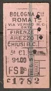 BOLOGNA - ROMA 27/OTTOBRE/1942 (GUERRA MONDIALE) - Spoorwegen