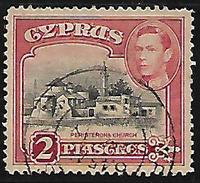Cyprus British Colony Commonwealth Peristeronia Church George KGVI 2 Piascres Used Stamp  #AR:14 - Cyprus (...-1960)