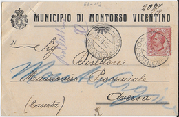 STORIA POSTALE REGNO - ANNULLO FRAZIONARIO MONTORSO (VI) 69-132 SU CARTOLINA