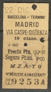 BARCELONA A MADRID 22/DICIEMBRE/1942 - Spoorwegen