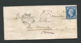 FRANCE- Lettre Sans Correspondance De 1859 De CLERMONT DE L'OISE (58)- PC 884- Y&T N°14A - 1849-1876: Période Classique