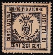Italy Revenues Local Municipal Marca Da Bollo Comunale AIDONE
