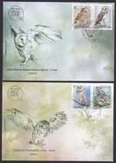 Serbia 2017 Protected Animals Species, Fauna, Birds, Owls, Little Owl, Barn Owl, Long-eared Owl, Scops Owl, FDC