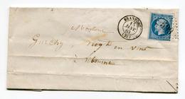 FRANCE- Lettre Avec Correspondance De 1863 De BRANTOME (23)- GC 599- Y&T N°22 - Storia Postale