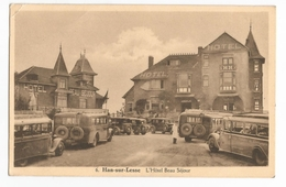 Han Sur Lesse L'Hôtel Beau Séjour Place Animée Avec Autocars Oldtimers Carte Postale Ancienne