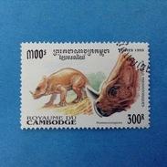 1995 CAMBOGIA CAMBODGE FRANCOBOLLO USATO STAMP USED - ANIMALI PREISTORICI 300 R