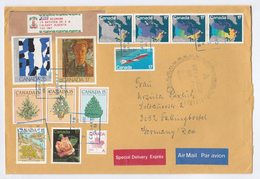 1982 SPECIAL DELIVERY Label COVER CANADA Stamps  MAP, ART, AIRCRAFT,  ROSE CHRISTMAS, Flower Aviation To Germany
