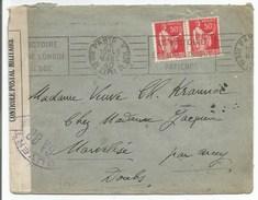 """C565 - Flamme PARIS V """" LA VICTOIRE EST UNE LONGUE PATIENCE """" - CENSURE GA 88 = Centre BESANCON - Mars 1940 - - Marcophilie (Lettres)"""