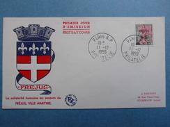 1959 - YT N° 1229 MARIANNE NEF FREJUS Sur ENVELOPPE ILLUSTRÉE PREMIER JOUR FDC Cachet Special PARIS PHILATELIE - FDC