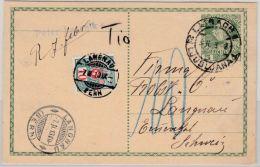 Österreich/Schweiz - 5 H. GA-Karte Laibach - Langnau 1913, 10 Rp. Portomarke