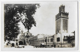 Genre Carte-photo épaisse , Bon Etat , Algérie , Oran , La Mosquée Et L'église Saint-louis, Courrier Au Verso