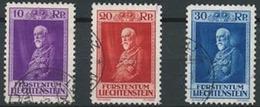 Fürst Franz 1933: Zu 101-103 Mi 122-124 Yv 114-116 O (Zumstein CHF 140.00 Michel € 75.00)
