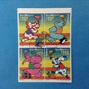 2000 SAN MARINO FRANCOBOLLI USATI STAMPS USED IN BLOCCO - Olimpiadi Personaggi Di Fumetti -