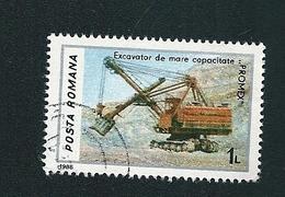 N° 3713 Excavatrice Timbre Posta Romana  Roumanie (1986) Oblitéré Sur Neuf