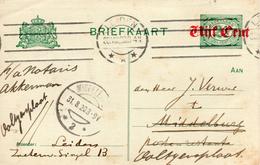 1920 Opdrukbk Van Leiden Naar Middelburg  En Door Naar Ooltgensplaat - Postal Stationery