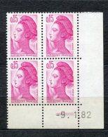 2667 Dr   FRANCE N° 2180 Type Liberté 15c   Rose  SUPERBE  9/1/82 - 1980-1989
