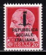 Italia RSI 1944 Francobollo Da 20 Cent. Soprastampato Per Errore 495/A Nuovo Integro MNH - 4. 1944-45 Repubblica Sociale