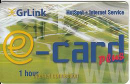 GREECE - E-card, GrLink By Telsatnet Internet Prepaid Card 1 Hours, Tirage 5000, Sample