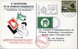 21884 Luxembourg  Card 1954 Postmark Traite Atlantique Nord NATO Union Federaliste