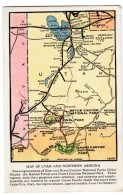 Map Of Utah And Northern Arizona Union Pacific Railroad Issued C1910s Vintage Postcard - Maps