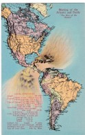 Panama Canal Map Western Hemisphere, Oceans 'Kiss', C1930s Vintage Curteich Linen Postcard - Maps