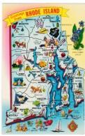 State Of Rhode Island Map Greetings, C1960s Vintage Postcard - Landkaarten
